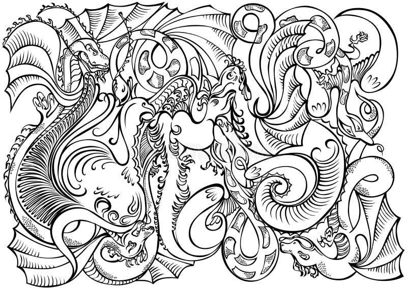 Branco abstrato do preto dos dragões do motivo da decoração ilustração stock