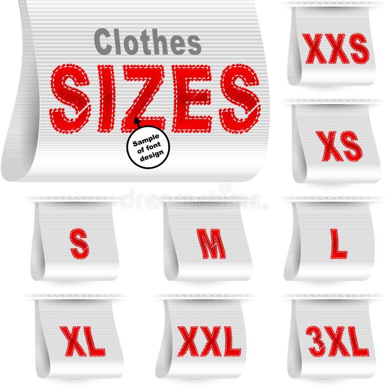 Branco ajustado costurado etiqueta da etiqueta do mercado da etiqueta do tamanho da roupa ilustração do vetor