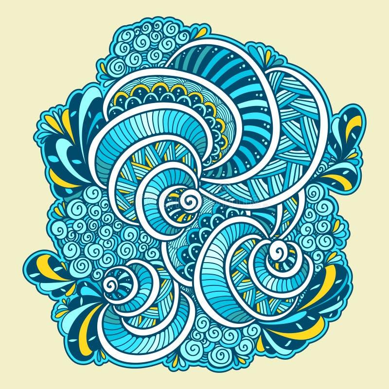 Branco alaranjado azul da composição marinha abstrata da garatuja do zen do emaranhado do zen ilustração royalty free