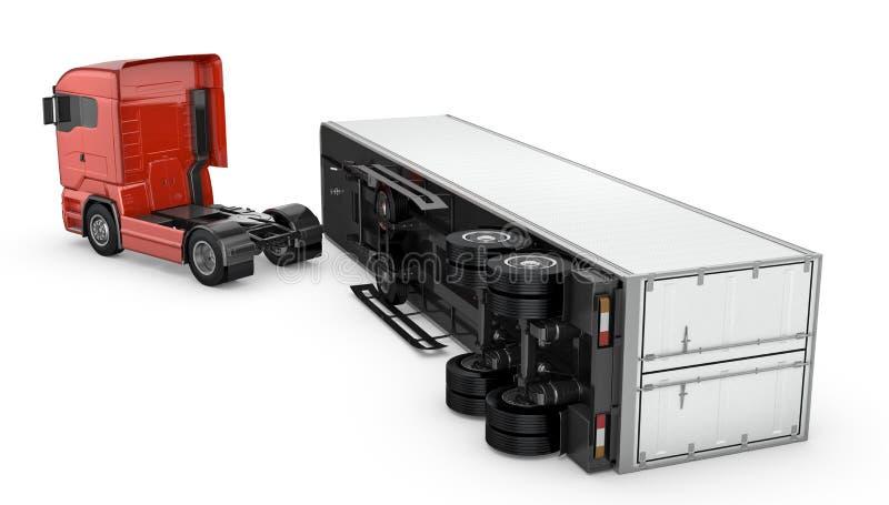Branco arrastado destacado de um caminhão vermelho, ilustração royalty free