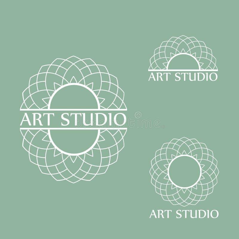 Branco Art Studio Business Logo Template da forma ilustração do vetor