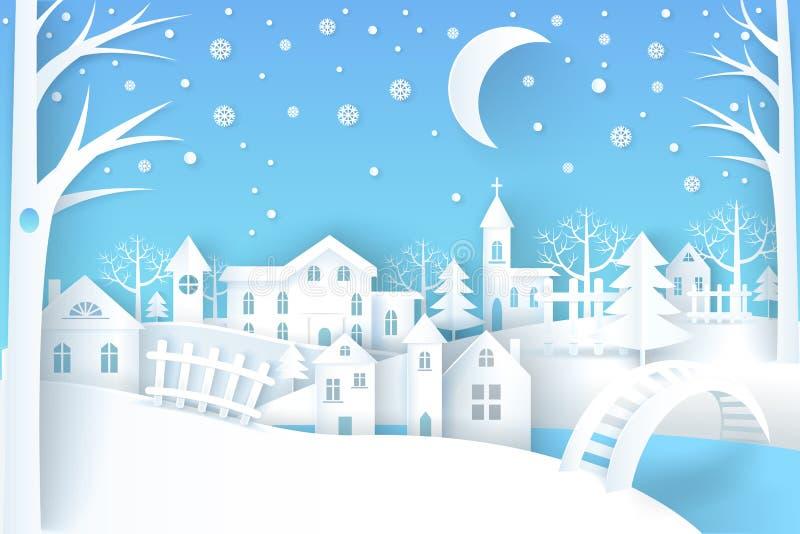Branco azul da ilustração do vetor da paisagem do inverno ilustração royalty free