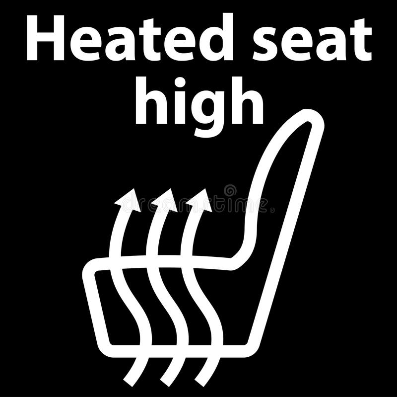 Branco caloroso do assento, botão, ícone, ícone do painel, ilustração na cor branca, erro do código do dtc - obd ilustração stock