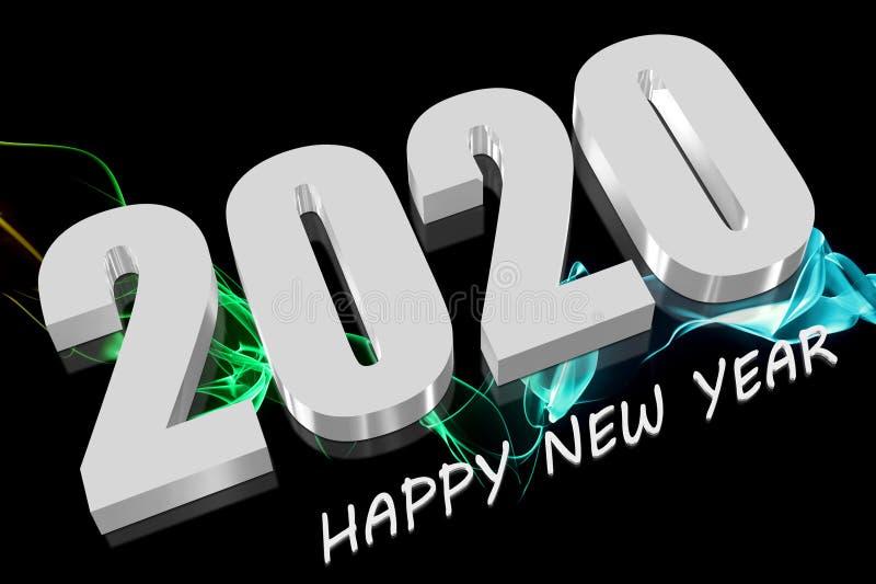 branco 3D 2020 ilustração do vetor