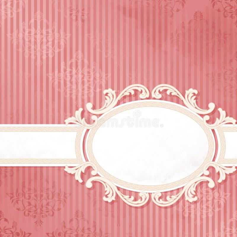 Branco da antiguidade na bandeira cor-de-rosa do casamento imagem de stock