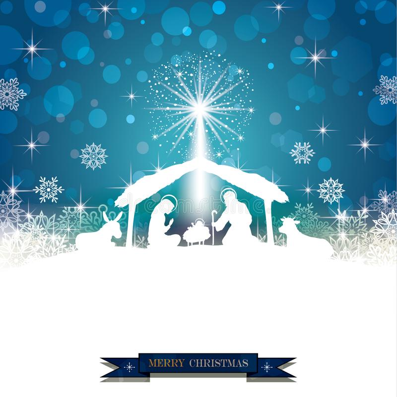 Branco da silhueta da natividade ilustração royalty free