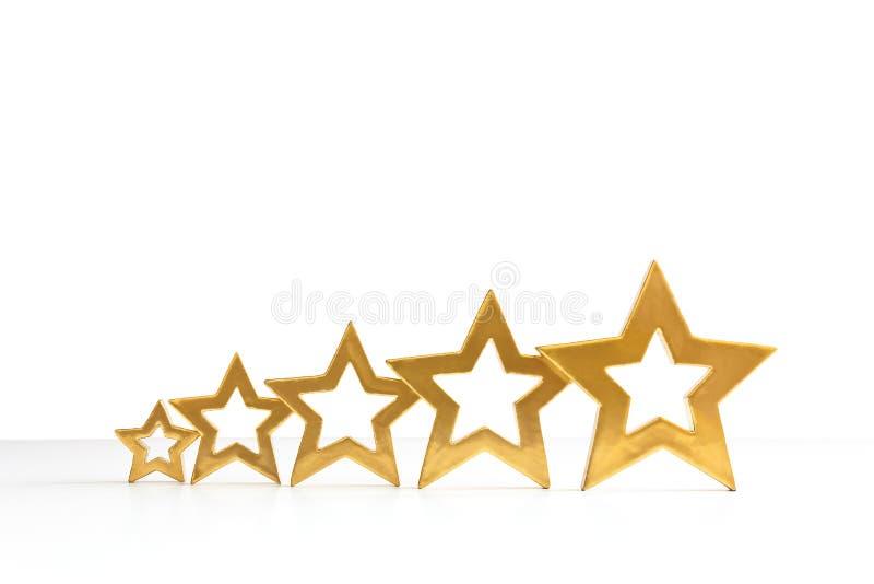 branco de cinco estrelas do ouro da avaliação imagens de stock royalty free