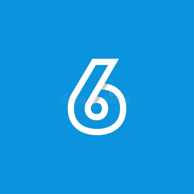 Branco de Logo Number 6 do vetor ilustração do vetor