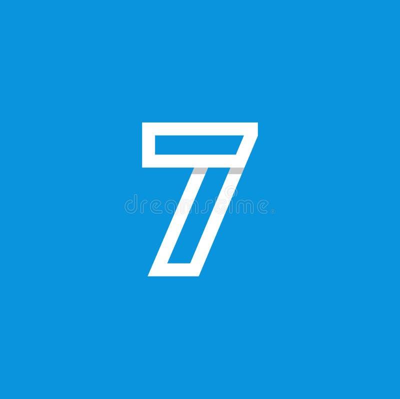 Branco de Logo Number 7 do vetor ilustração royalty free