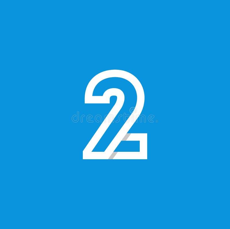 Branco de Logo Number 2 do vetor ilustração stock