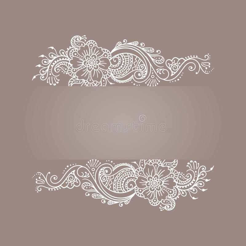 Branco de Mehndi Henna Tattoo do ornamento floral imagens de stock royalty free