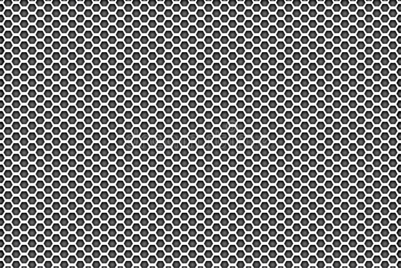 Branco de prata do metal para enegrecer o fundo do teste padrão com pentagons fotografia de stock royalty free