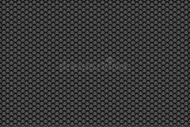 Branco de prata do metal para enegrecer o fundo do teste padrão com pentagons fotografia de stock