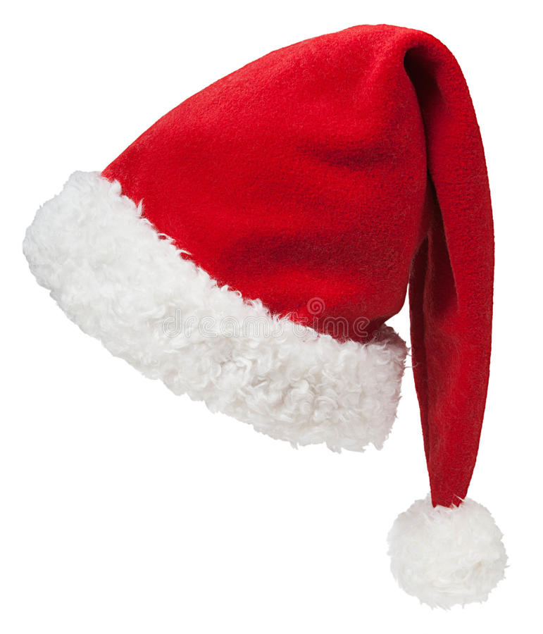 Branco de Santa Claus Red Hat Isolated On foto de stock royalty free