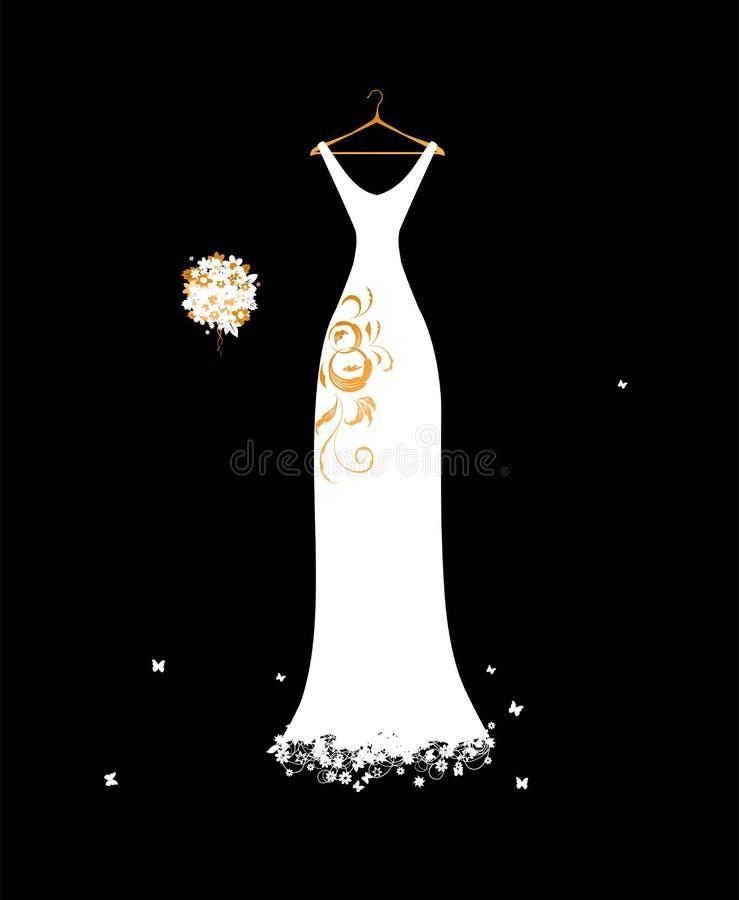 Branco De Vestido Do Casamento Em Ganchos Com Ramalhete Floral Fotos de Stock Royalty Free