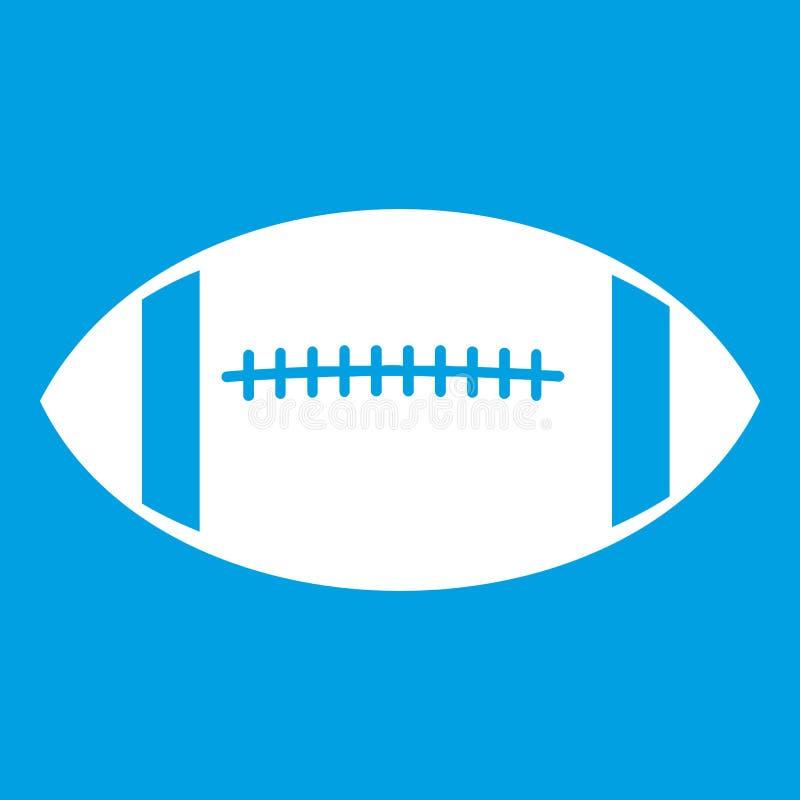 Branco do ícone da bola de rugby ilustração stock