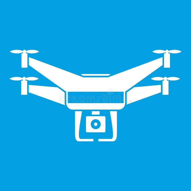 Branco do ícone da câmara de vídeo do zangão ilustração stock