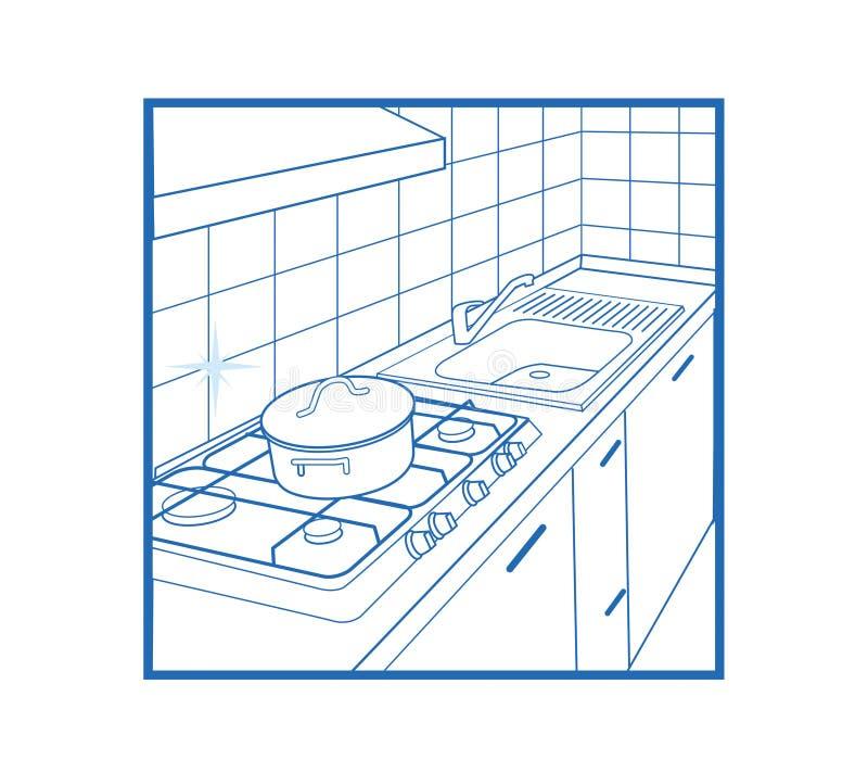 Branco do ícone da cozinha ilustração stock