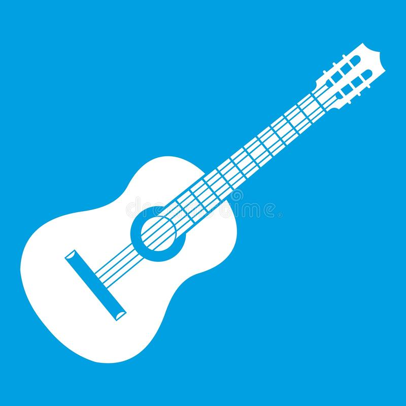 Branco do ícone da guitarra ilustração royalty free