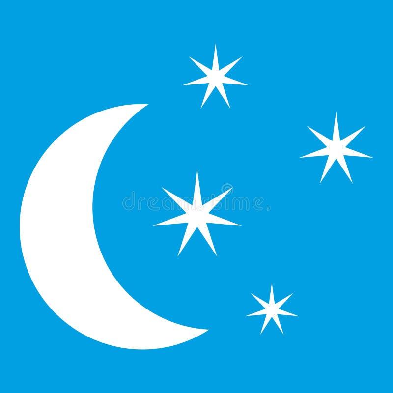 Branco do ícone da lua e das estrelas ilustração do vetor
