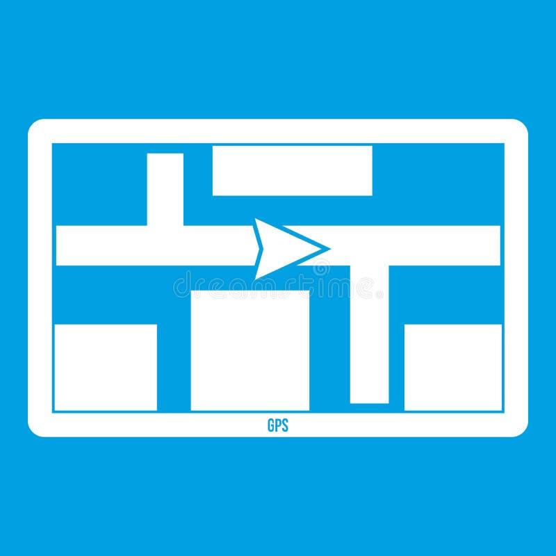Branco do ícone da navegação de GPS ilustração royalty free