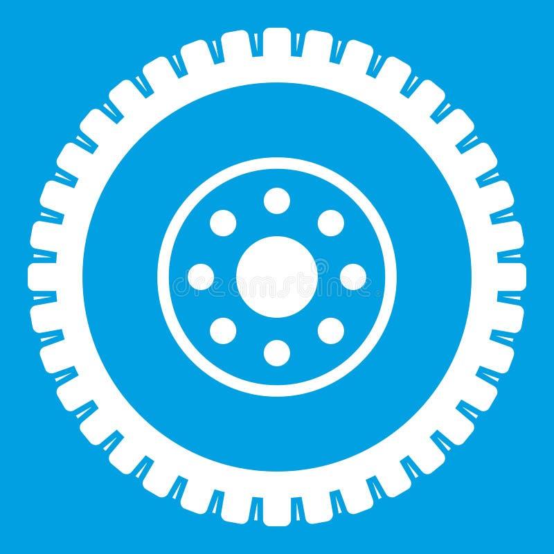 Branco do ícone da roda de engrenagem ilustração royalty free