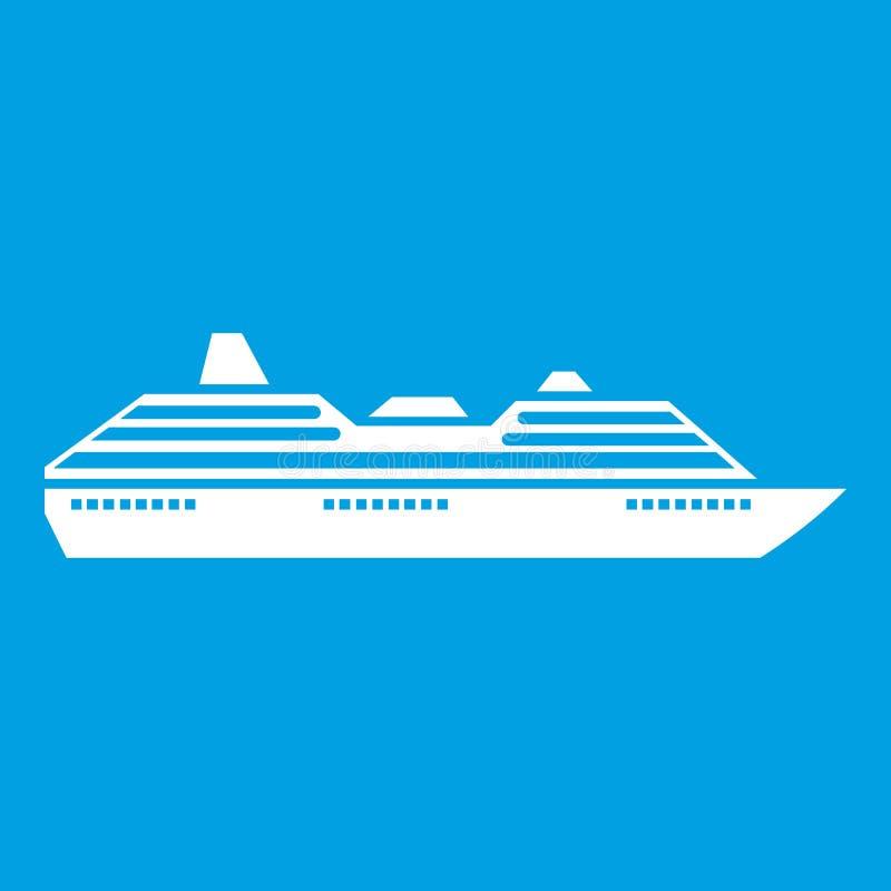 Branco do ícone do navio de cruzeiros ilustração do vetor