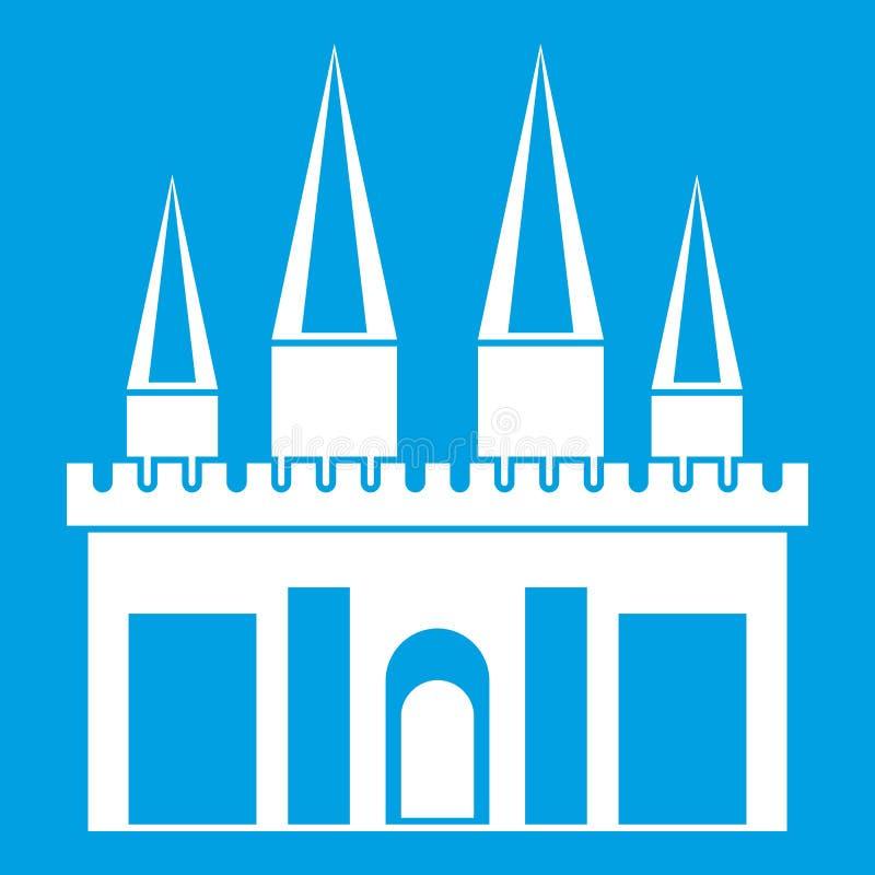 Branco do ícone do palácio do reino ilustração do vetor