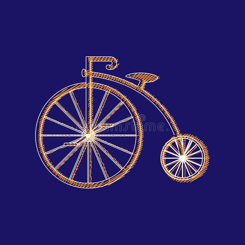 branco do ícone do Moeda de um centavo-farthing isolado no fundo verde bicicleta velha antiga com rodas grandes ilustração royalty free