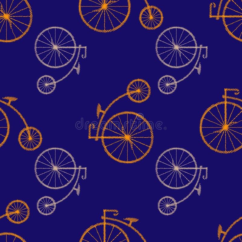 branco do ícone do Moeda de um centavo-farthing isolado no fundo verde bicicleta velha antiga com rodas grandes Teste padrão sem  ilustração stock
