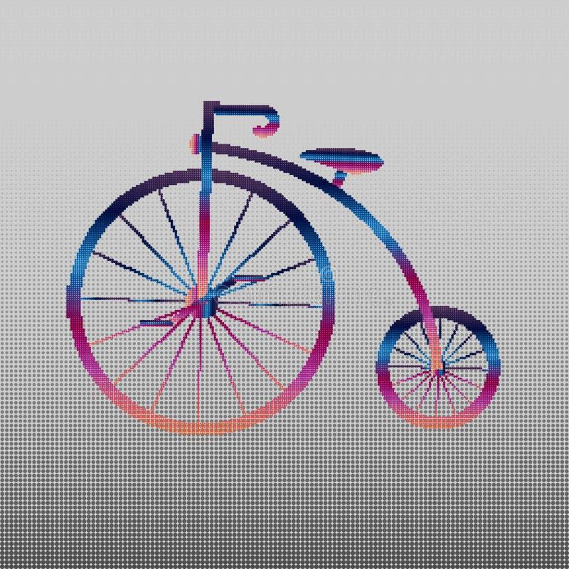 branco do ícone do Moeda de um centavo-farthing no fundo verde bicicleta velha antiga com rodas grandes Velho antigo colorido ilustração do vetor