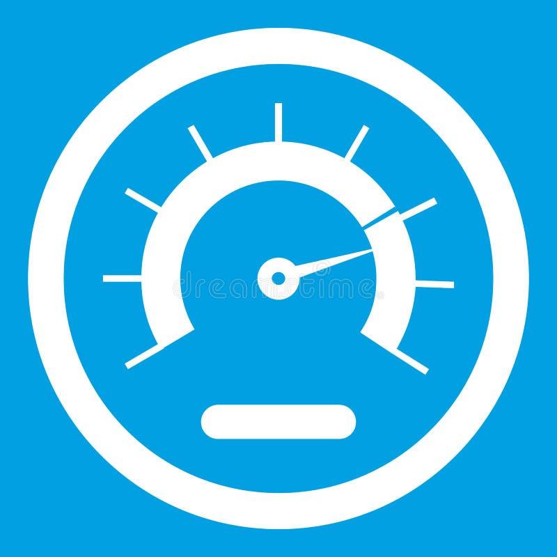 Branco do ícone do velocímetro ilustração stock