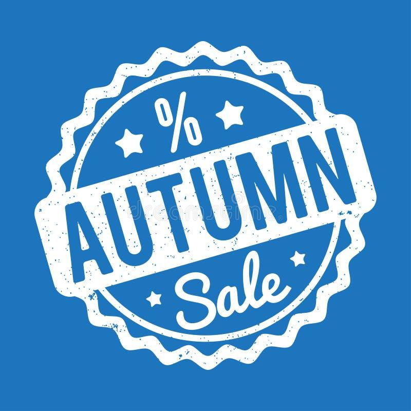 Branco do carimbo de borracha de Autumn Sale em um fundo azul ilustração do vetor