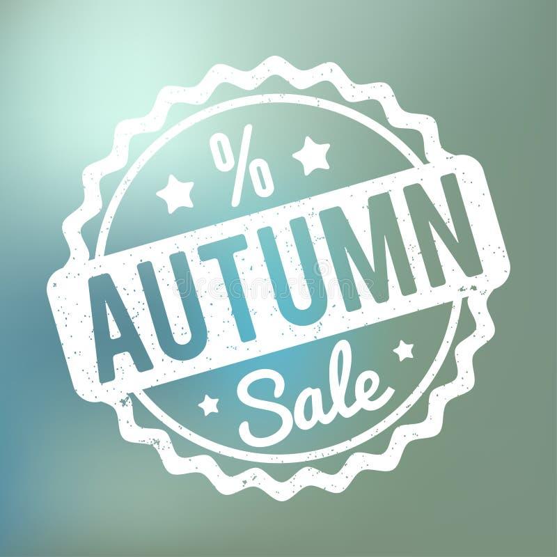 Branco do carimbo de borracha de Autumn Sale em um fundo azul do bokeh ilustração stock