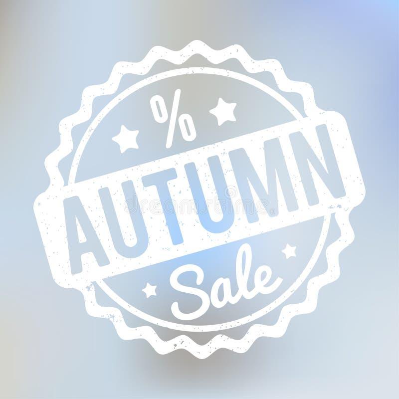 Branco do carimbo de borracha de Autumn Sale em um fundo do bokeh do lila ilustração do vetor