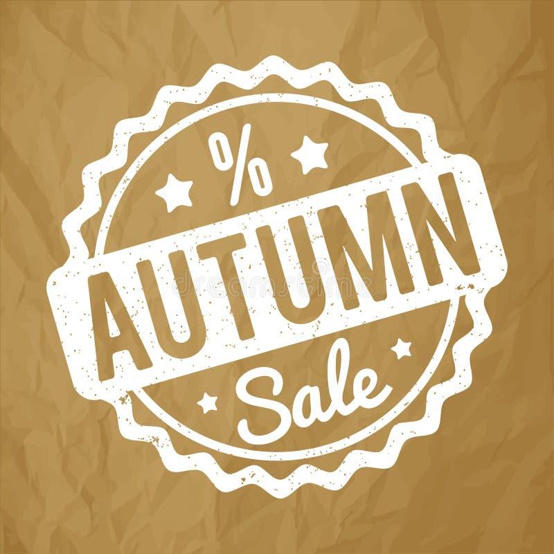 Branco do carimbo de borracha de Autumn Sale em um fundo marrom de papel amarrotado ilustração do vetor
