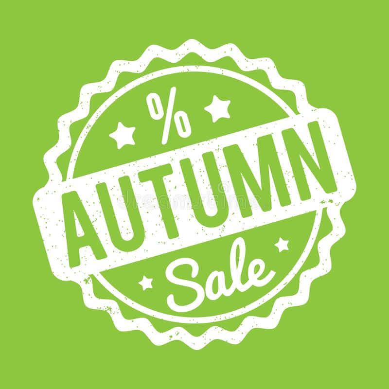 Branco do carimbo de borracha de Autumn Sale em um fundo verde ilustração do vetor