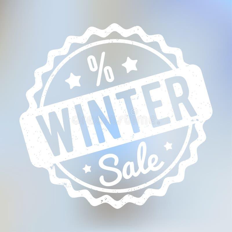 Branco do carimbo de borracha da venda do inverno em um fundo do bokeh do lila ilustração stock