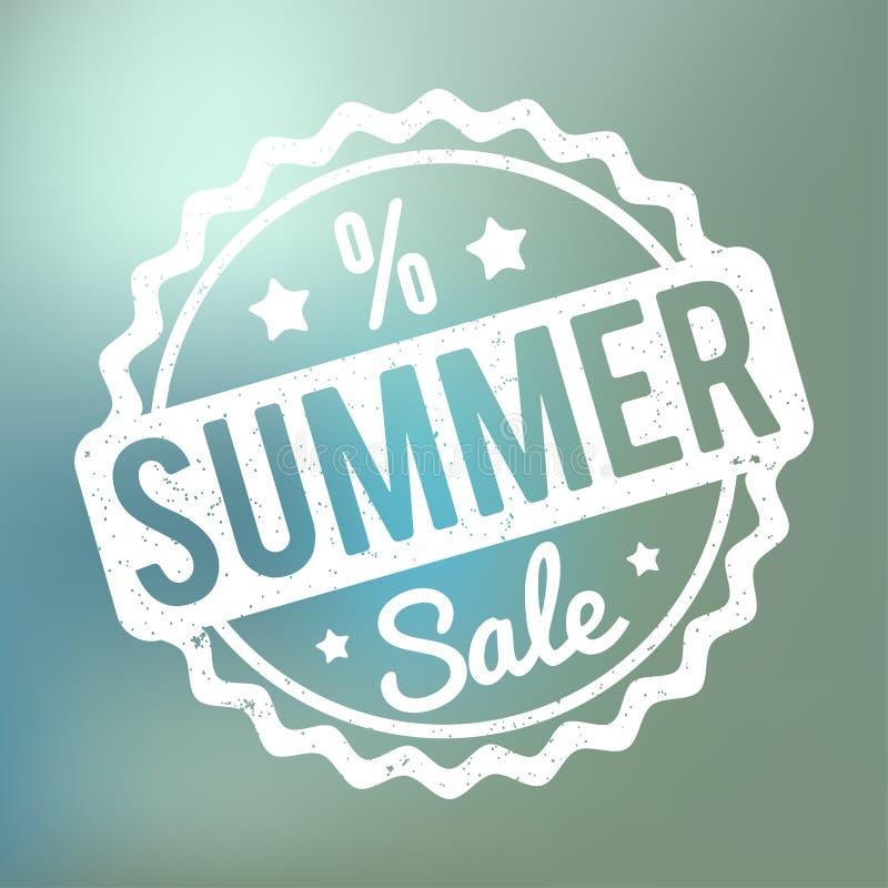 Branco do carimbo de borracha da venda do verão em um fundo azul do bokeh ilustração do vetor