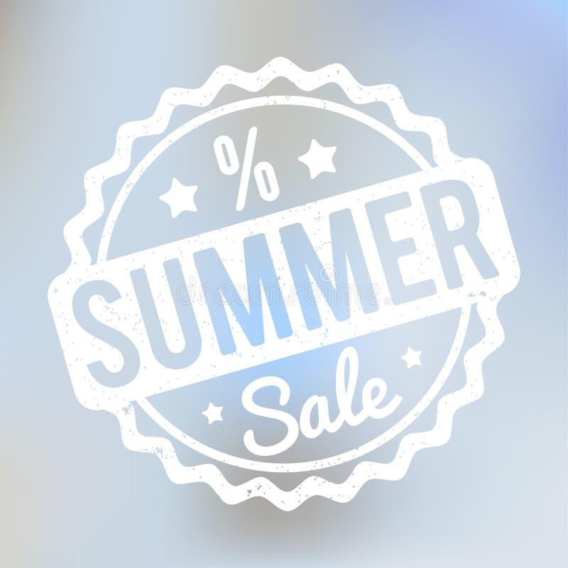 Branco do carimbo de borracha da venda do verão em um fundo do bokeh do lila ilustração royalty free