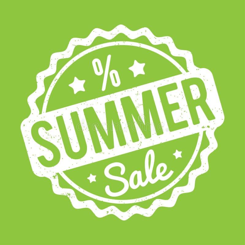 Branco do carimbo de borracha da venda do verão em um fundo verde ilustração do vetor