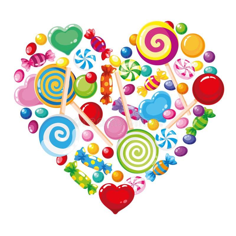 Branco do coração dos doces ilustração do vetor