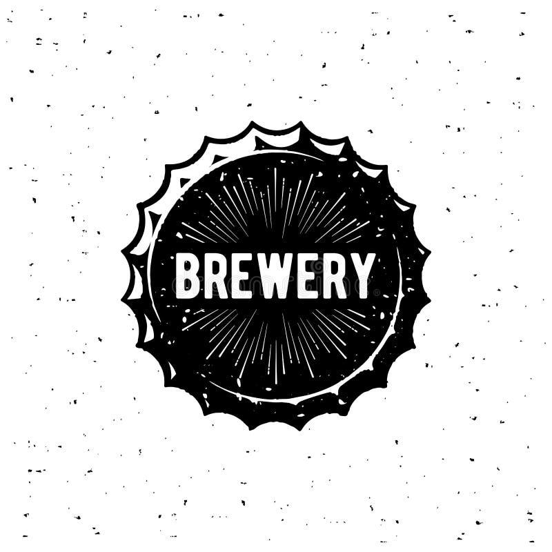 Branco do Grunge do tampão de garrafa da cervejaria Ilustração do vetor ilustração stock