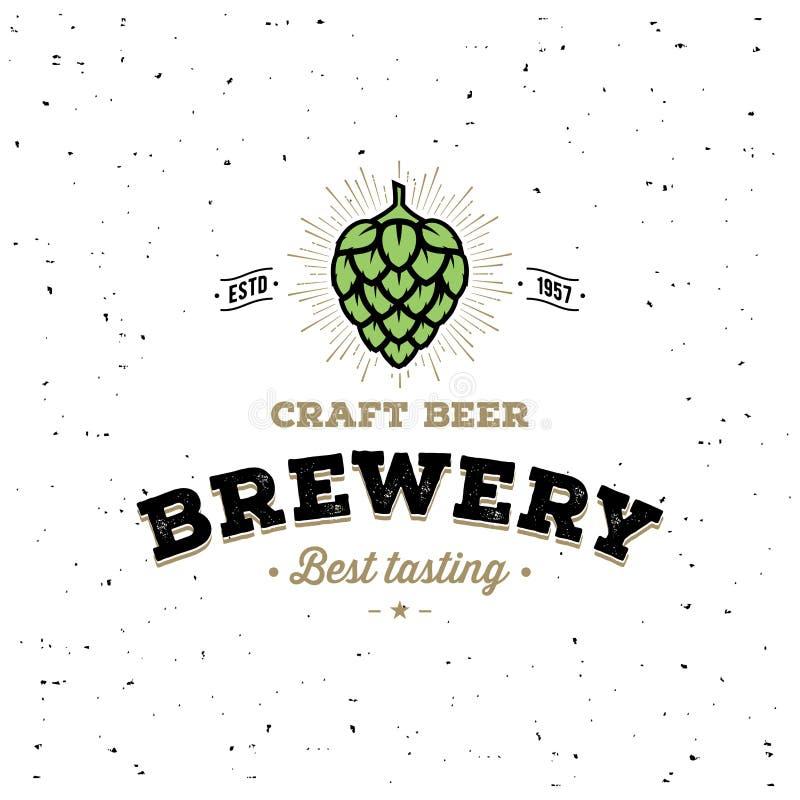 Branco do lúpulo da cervejaria para o bar, barra Ilustração do vetor ilustração do vetor