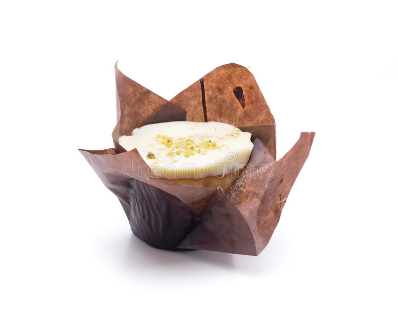 Branco do pistache e do chocolate do queque imagens de stock royalty free