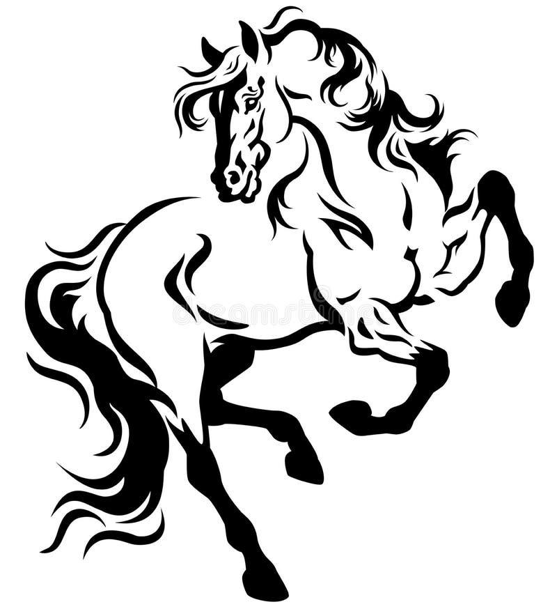 Branco do preto da tatuagem do cavalo ilustração royalty free