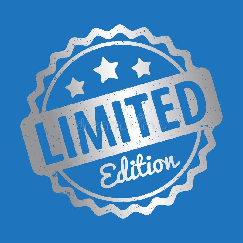 Branco do vetor da concessão do carimbo de borracha da edição limitada em um fundo azul ilustração do vetor