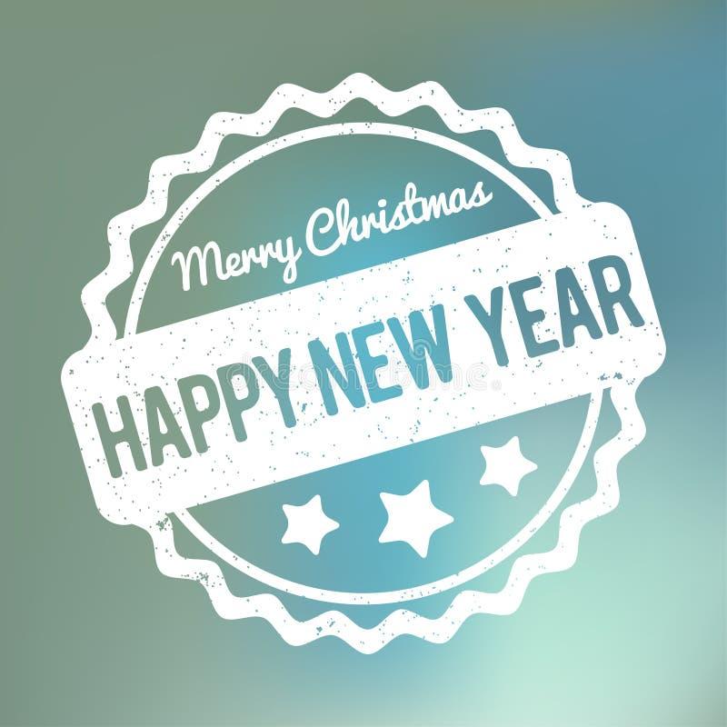 Branco do vetor da concessão do carimbo de borracha do Feliz Natal do ano novo feliz em um fundo azul do bokeh ilustração do vetor