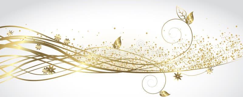 Branco e bandeira do ouro ilustração stock