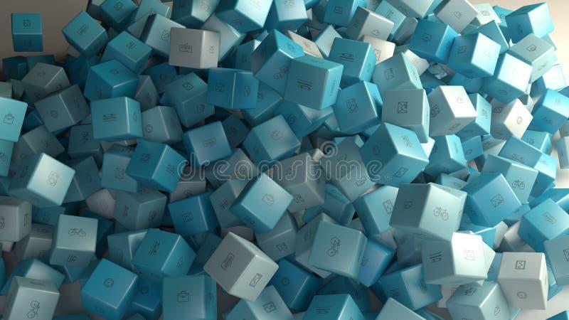 Branco e claro - cubos azuis do abstact fotos de stock